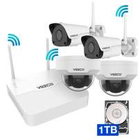 Vezco VZ-EyeView-KMHD – Full HD Wireless Security Camera System 4CH 1080 with 1TB HDD WiFi NVR 2 Bullet + 2 Dome 1080P Indoor + Outdoor Wireless IP Cameras P2P 100ft Night Vision Remote Viewing