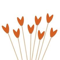 "BambooMN Premium Decorative Tulip End Cocktail Fruit Sandwich Picks Skewers for Catered Events, Holiday's, Restaurants or Buffets Party Supplies - Orange, 5.9"", 300 pcs"
