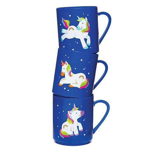 Baker Ross Plastic Rainbow Unicorn Mugs — Ideal for Party Bag Fillers, Kids' Prizes, Gifts, and More (Pack of 4)