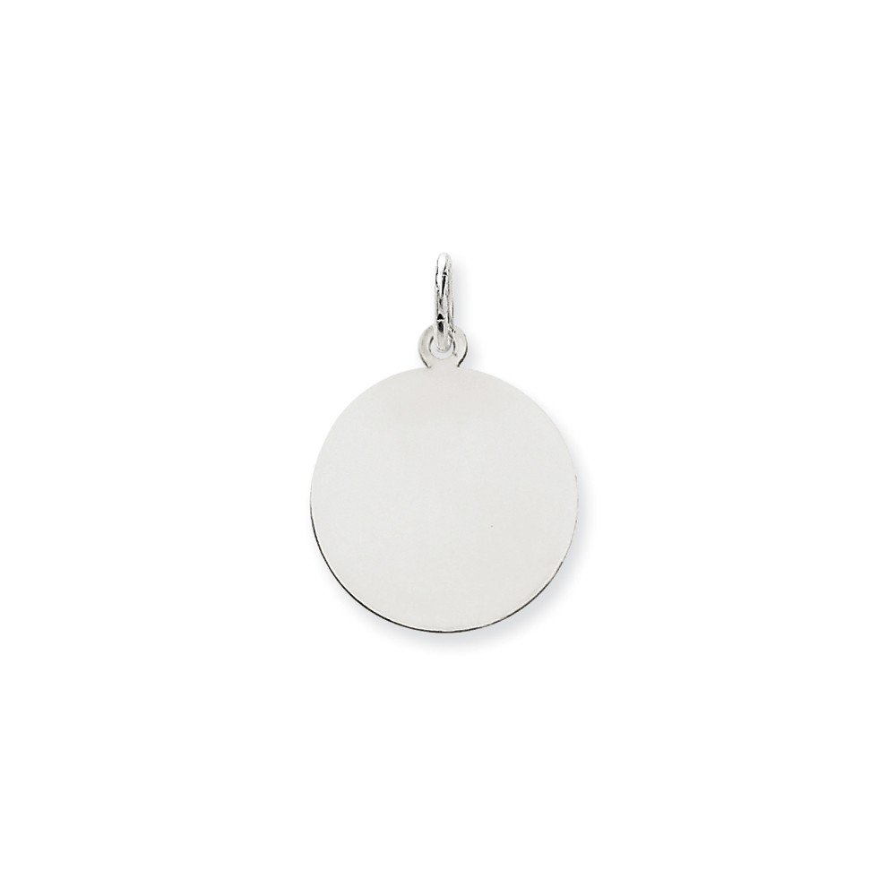 14k White Gold .035 Gauge Round Engravable Disc Pendant Charm Necklace Plain Fine Jewelry For Women Gifts For Her