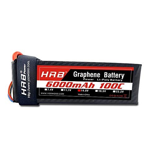 HRB Graphene Battery 4S 6000mAh 100C 14.8V Lipo Batteries Pack with Traxxas Plug for RC Helicopter Airplane Car Truck Boat Remote Control Traxxas Xmaxx