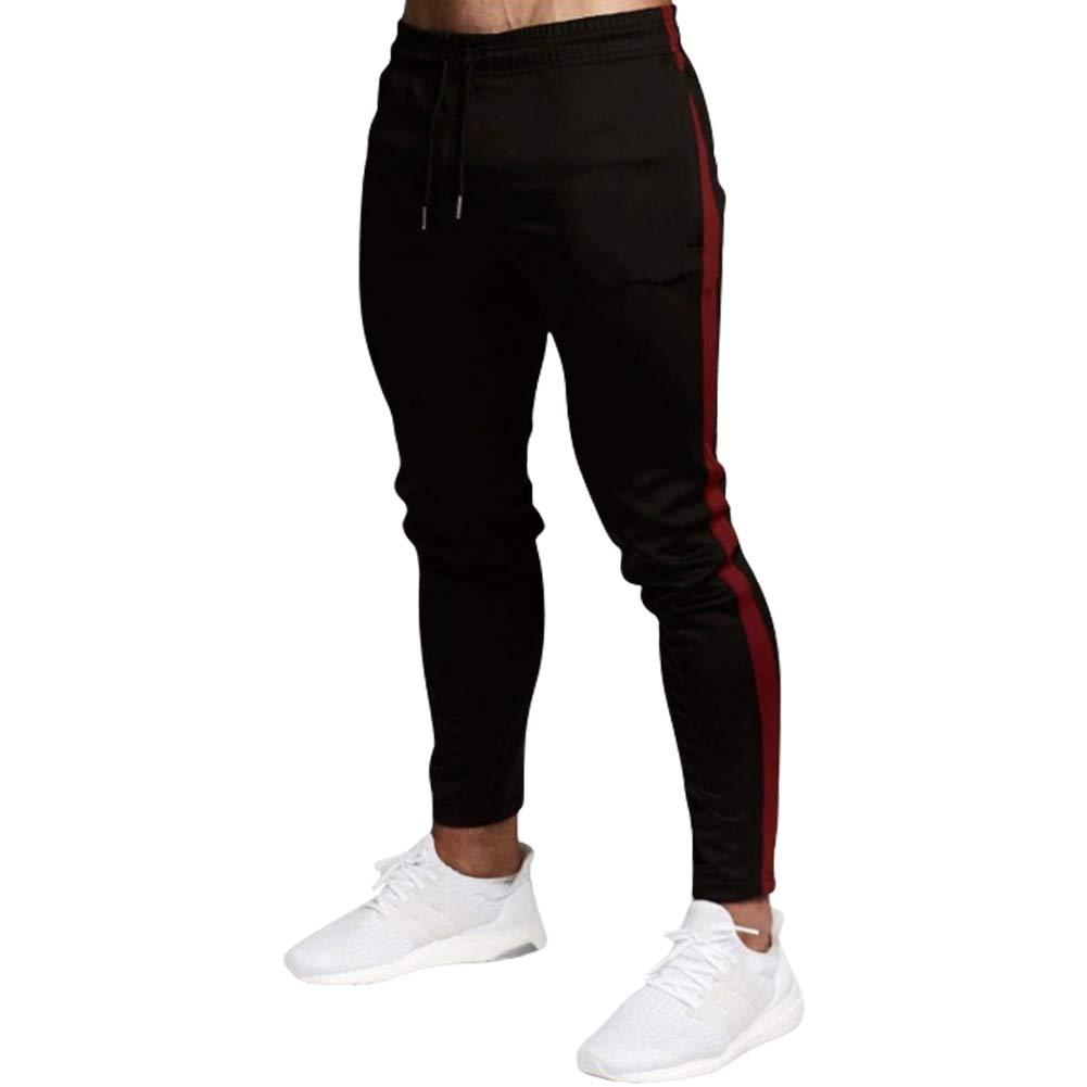 MECH-ENG Men's Stripe Workout Pants Tapered Joggers Slim Fit Sweatpants Zipper Pocket