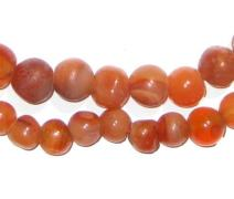 African Carnelian Beads - Full Strand of Authentic Gemstone Beads from Ghana - The Bead Chest (Round - Small)