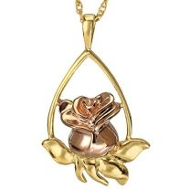 Memorial Gallery MG-3169gp Rose Tear Drop 14K Gold/Sterling Silver Plating Cremation Pet Jewelry
