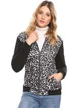 Zeagoo Ladies Casual Long Sleeve Floral Bomber Jacket Stretchy Short Trench Coat(Leopard,XX-Large)