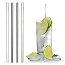Stainless Steel Straws Metal drinking straw - Dip & Sip Reusable, Eco-friendly | Free Cleaning Brush | Dishwasher Safe | 4 pack (6mm Straight)