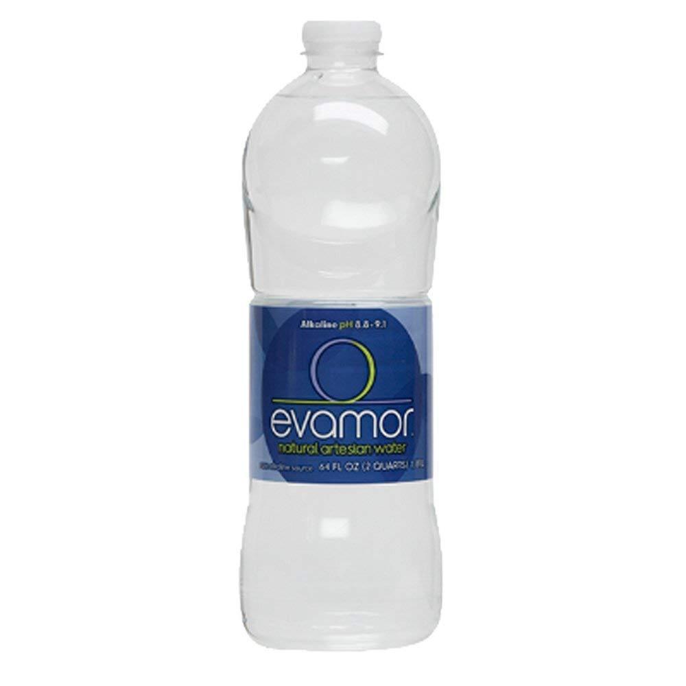Evamor Natural Alkaline Artesian Water, 64 Fl Oz (Pack of 6)