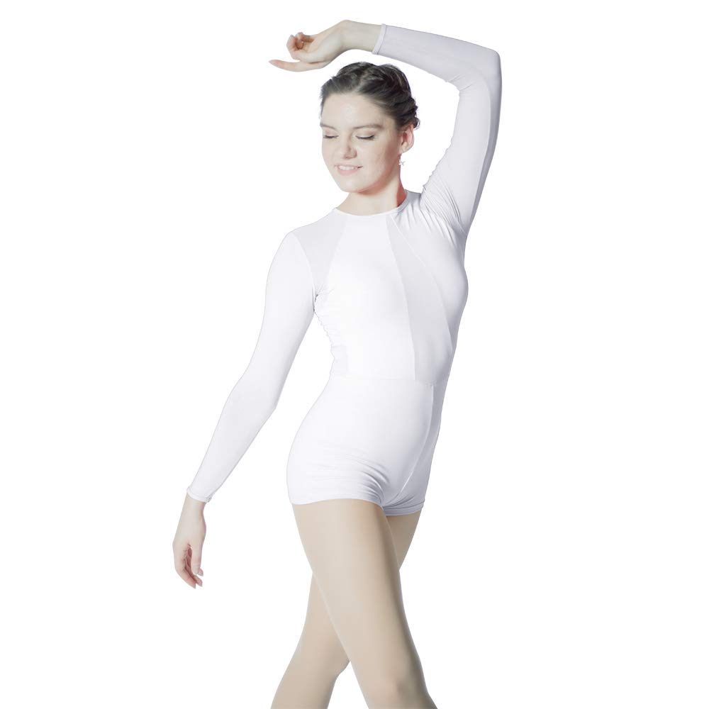 HDW DANCE Women's Dance Biketard Long Sleeve Mesh V Front Jazz Gymnastics Bodysuit