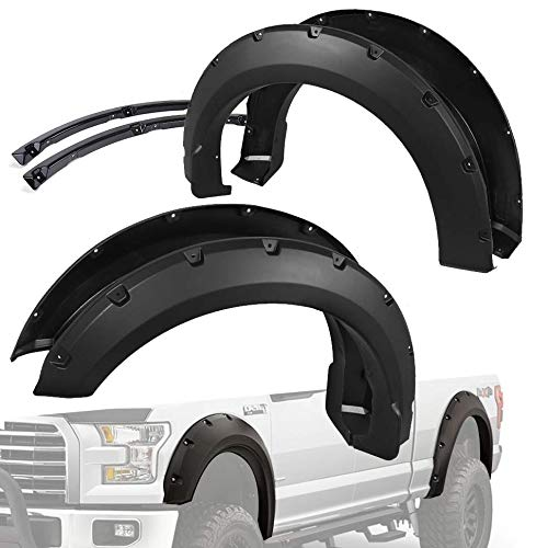 Syneticusa Pocket Style Bolt On Rivet Fender Flares Smooth Black Replacement for 2015-2017 F150 F-150
