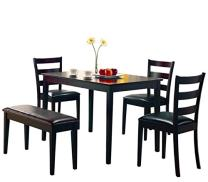 Taraval 5-piece Dining Set with Bench Cappuccino and Dark Brown