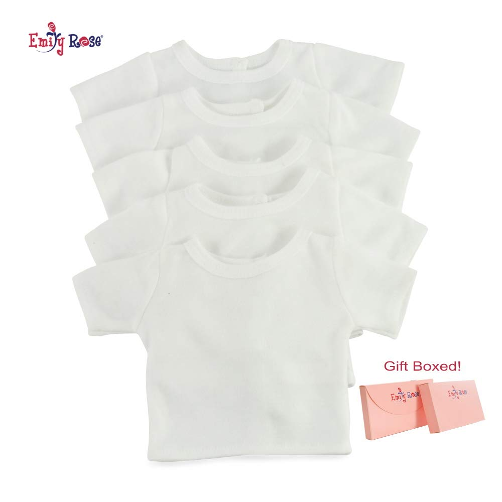 18 Inch Doll 5 Pack Plain Bright White, Double Stitched T-Shirts - Easy Close Velcro Back   Perfect Kids Craft Party Activity!   Doll Tee Shirts fit American Girl Dolls