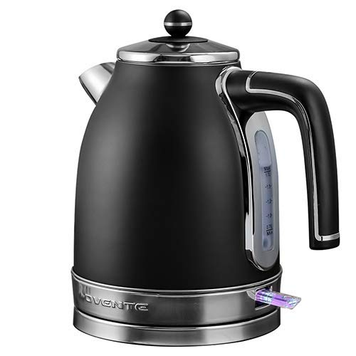 Ovente Electric Water Kettle 1.7 Liter with Premium Matte Stainless Steel, Victoria Collection 1500 Watts, Removable Anti-Scale Filter, Centered Water Gauge and Fast Boiling, Black (KS777B)
