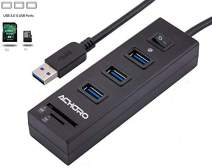 Achoro SD Card Reader TF Reader with 3 USB HUB - Premium Quality High-Speed 3.0 Data Transfer Memory Card Reader Hub - Compatible with MacBook, Windows, iMac, USB Flash Drive, Hard Drive, and PC
