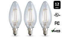 12-Pack Archipelago Dimmable LED Filament Candelabra (B10) Light Bulb, Clear Glass, 3.5 Watt, Candelabra Base (E12), 2400K (Soft White), Omnidirectional, UL Listed
