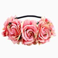 Edary Rose Flower Crown Wedding Floral Wreath Garland with Elastic Rope Hair Band Rose Hair Accessories for Women and Girls(1PC) (Pink)