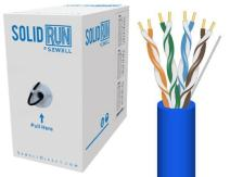 Sewell Direct SW-29776-250 SolidRun Cat6 Bulk Cable, UTP, CM, 23 AWG, High Copper Content CCA, Blue PVC Jacket, 250 ft.
