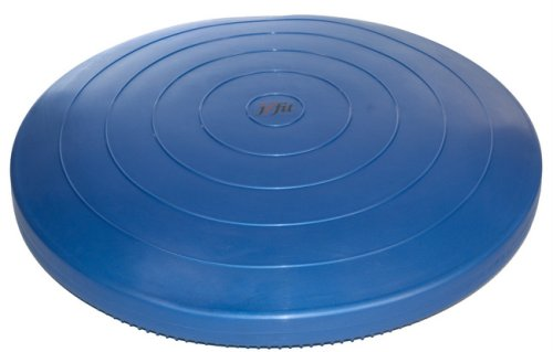 """j/fit Inflatable Balance & Stability Disc: (LARGEST in Industry 26"""") Large Yoga Wobble Cushion Trainer - Core Fitness & Workout Equipment Discs for Home - Office Chair, Ankle Strength Training & Dog or Pet Activity: Blue, 26-Inch"""