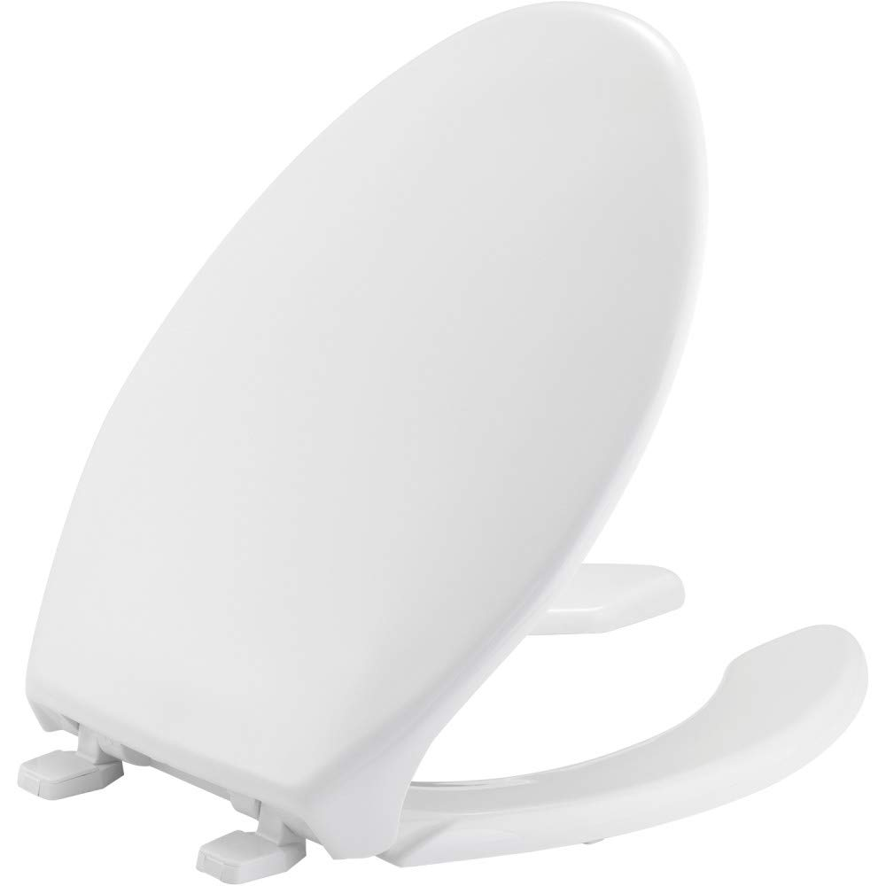 BEMIS 1950 000 Commercial Heavy Duty Open Front Toilet Seat with Cover, ELONGATED, Plastic, White