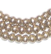 6mm Round Silver Beads - Full Strand of African Metal Spacer Beads - The Bead Chest