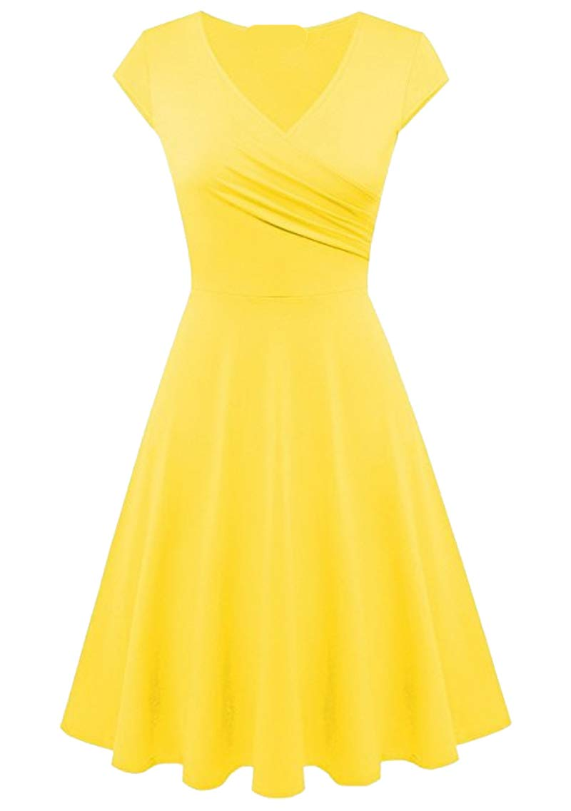 YMING Womens Vintage 50s Cocktail Dress Pleated V Neck A Line Swing Midi Dress XS-3XL