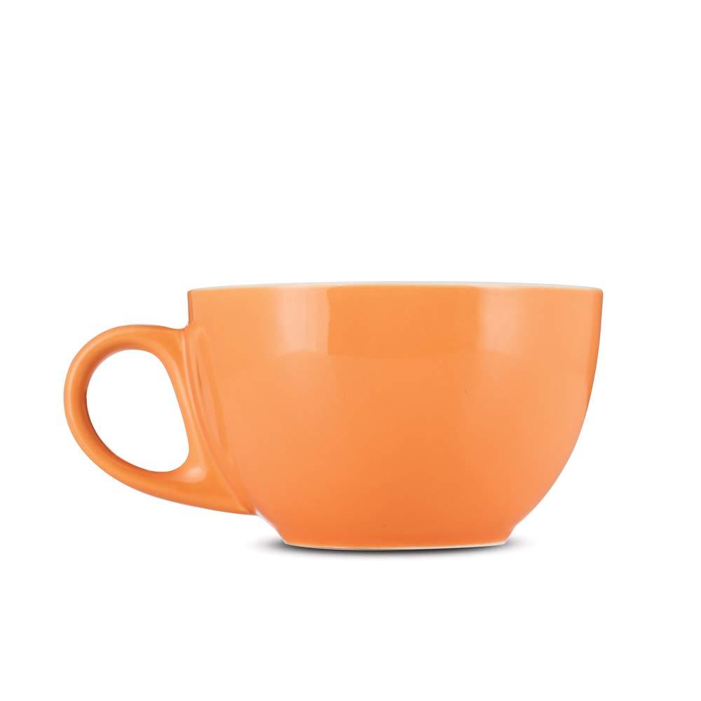 Espresso Parts Premium 12oz Latte Cups with Saucers I Set of 6 Cappuccino Mugs I Porcelain Superior To Ceramic Or Stoneware I Cappuccino Cups Set I Orange Latte Mugs For Latte Art