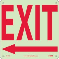 "NMC GL16R Safety Sign with Left Arrow Sign, ""EXIT"", 10"" Width x 10"" Height, Rigid Plastic, Red on White,Yellow"