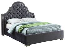Meridian Furniture Madison Velvet Upholstered Bed with Button Tufted Headboard, Chrome Nailhead Trim, and Custom Chrome Legs, Queen, Grey