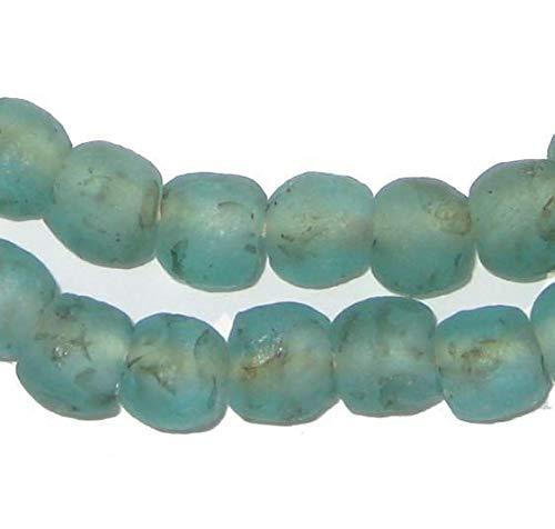 African Recycled Glass Beads - Full Strand Eco-Friendly Fair Trade Sea Glass Beads from Ghana Handmade Ethnic Round Spherical Tribal Boho Krobo Spacer Beads - The Bead Chest (9mm, Aqua Black Swirl)