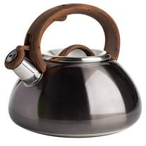 Primula Avalon Whistling Stovetop Tea Kettle Food Grade Stainless Steel Hot Water, Fast to Boil, Cool Touch Handle, 2.5 Quart, Metallic Gunmetal
