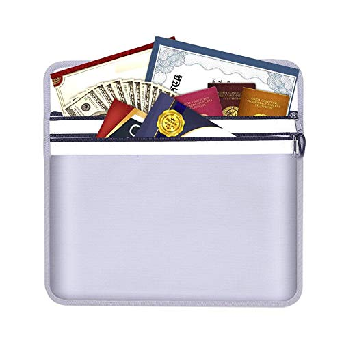 """Fireproof Document Pouch,15"""" x 11"""" Fireproof Office Cash Pouch Bags Water Resistant Money Bag for Ipad, Cash, Documents, Jewelry and Passport"""