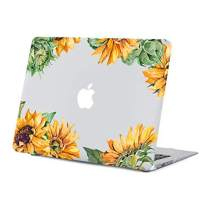 Sunflower MacBook Air 13.3 inch Case, Old Version Yellow Floral Hard Shell Clear Case for Model A1466/A1369 with Keyboard Cover Release 2010-2017