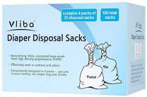Vliba Individual Disposable Diaper Sacks - Extra Thick and Strong - 100 Sacks Conveniently Packaged in 4 Packs of 25