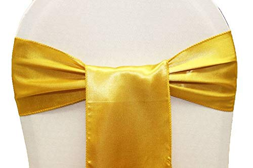 mds Pack of 10 Satin Chair Sashes Bow sash for Wedding and Events Supplies Party Decoration Chair Cover sash -Yellow Gold