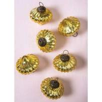 Cultural Intrigue Luna Bazaar Small Mercury Glass Ornaments (2.25-Inch, Lucy Design, Gold, Set of 6) - Vintage-Style Decorations for Home or Holiday Décor