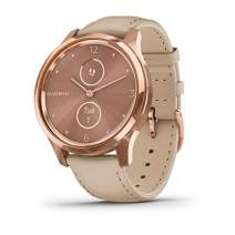 Garmin vívomove Luxe, Hybrid Smartwatch with Real Watch Hands and Hidden Color Touchscreen Displays, Rose Gold with Light Sand Leather Band