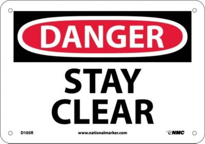 "NMC D105R OSHA Sign, Legend ""DANGER - STAY CLEAR"", 10"" Length x 7"" Height, Rigid Plastic, Black/Red on White"