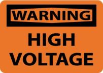 "NMC W49P OSHA Sign, Legend ""WARNING - HIGH VOLTAGE"", 10"" Length x 7"" Height, Pressure Sensitive Vinyl, Black on Orange"
