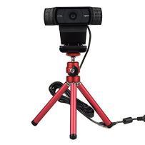 Lightweight Mini Webcam Tripod for Logitech Webcam C920 C922 Small Camera Tripod Mount Cell Phone Holder Stand (Red)
