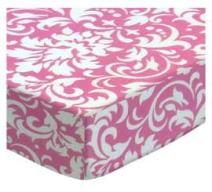 SheetWorld Fitted Crib / Toddler Sheet - Pink Damask - Made In USA