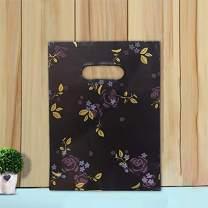 "Ysmile Poly Die Cut Handle Bag, Good Merchandise Bag, Plastic Shopping Bag, Retail Bag, Gift Wrapping Bag, 1.5 mil 100 ct, 5.9""x7.8"" - Black Flower"