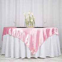 BalsaCircle 5 pcs 72x72 inch Pink Square Tablecloth Satin Table Overlays Linens for Wedding Table Cloth Party Reception Events Kitchen Dining