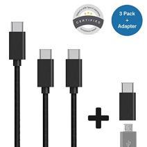 Olixar USB C Cable Pack - Multipack of 3-2m, 2 x 1m + Micro USB to USB C Adapter Charging Cables - USB Type C Charger + Data Transfer