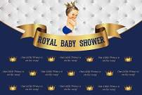 Baocicco 7x5ft Polyester Backdrop Royal Baby Shower Backdrop Royal Blue Our Little Prince is on His Way Golden Banner Photography Background Royal Celebration Welcome Little Prince Party