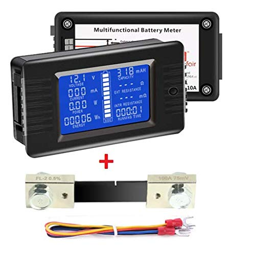 DC Multimeter Battery Monitor 0-100A Ammeter Voltmeter with LCD Display Digital Current Voltage, Fit for Solar Power Battery/RV/Boat/Trailer etc
