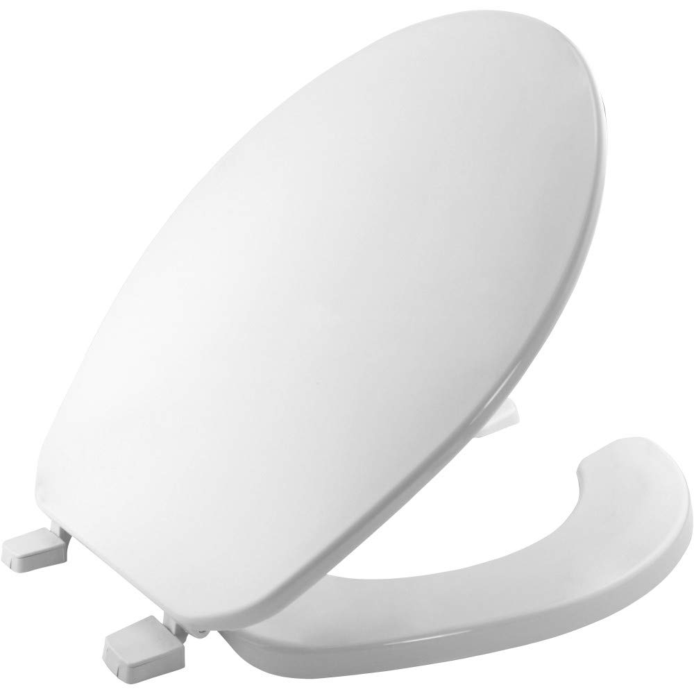 BEMIS 75 000 Commercial Open Front Toilet Seat with Cover, ROUND, Plastic, White