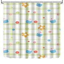 LINENLUX Shower Curtain,Waterproof Polyester Fabric Bath Curtain with 12 Hooks(Cute Flower, 72x72 Inch)
