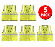 Safety Main Economy High Visibility All Mesh Vest, 5X-Large, 5 Pack