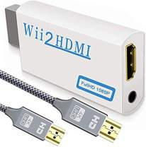 Upgraded Version Wii to HDMI Converter + 6.6ft High Speed HDMI Cable - Wii2 HDMI 1080P 720P HD Connector with 3.5mm Audio Jack Support All Wii Display Modes, Compatible with Full HD Devices