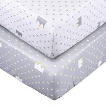 Crib Sheet Set UOMNY 100% Natural Cotton Crib Fitted Sheets Baby Sheet for Standard Crib and Toddler mattresses Nursery Bedding Sheet for Boys and Girls 2 Pack(White Crown Pattern/Gray Crown Pattern)