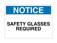 "Supply360 Plastic (PVC) Workplace Notice Safety Glasses Required Sign, 7""x10"", White/Blue/Black, Made in The USA, Printed with UV Ink for Durability and Fade Resistance"